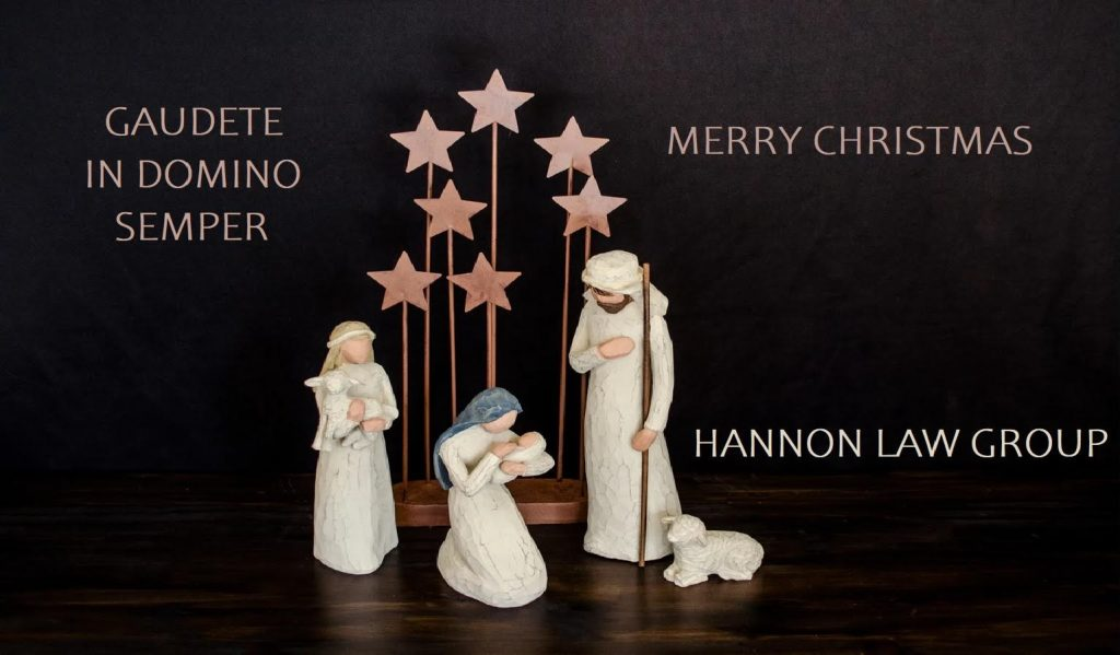 Manger scene with Merry Christmas Message